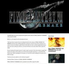 SE《最終幻想7重製版》跟《漫威復仇者聯盟》均延期發售