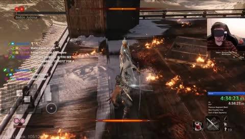 實況主蒙住眼睛的狀態下完成了《隻狼:暗影雙死》的快速通關,總花費4小時35分13秒
