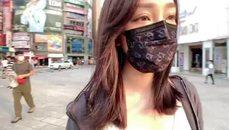 劉萱剛運動完的戶外台